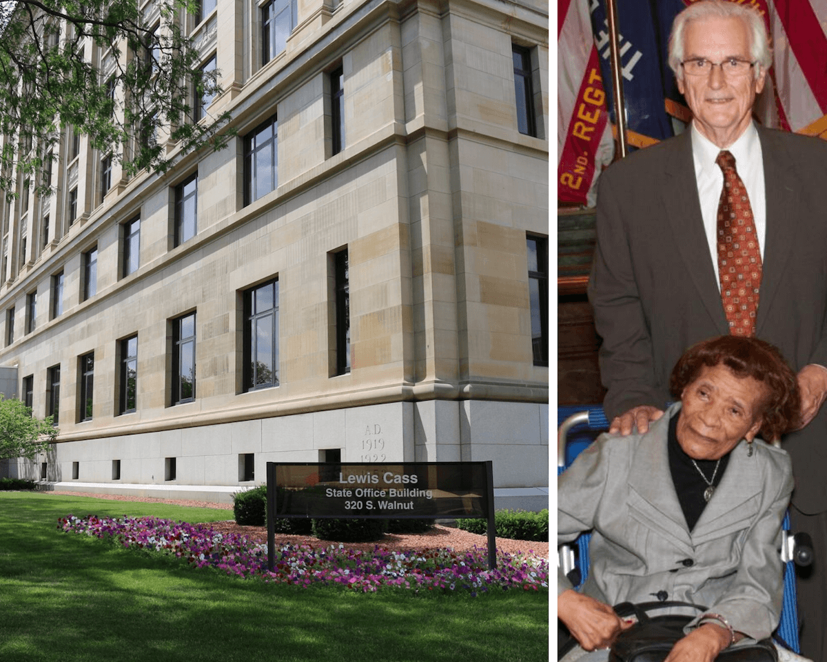 Left: The Elliott-Larsen Building, formerly the Lewis Cass Building. (Photo via Michigan Department of Environment, Great Lakes, and Energy Facebook) Right: Republican State Rep. Melvin Larsen and Democratic State Rep. Daisy Elliott. (Photo via Michigan State Bar)