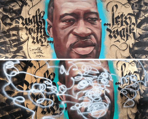 "Top: Isiah Lattimore and Dtach's mural honoring George Floyd and ""one of the most beautiful moments"" Lattimore had ever seen in his hometown of Flint, when protestors and law enforcement marched together in solidarity for racial justice. (Photo courtesy of Isiah Lattimore) Bottom: The appearance of the mural after it was desecrated by an unknown vandal early July. (Photo via Facebook)"