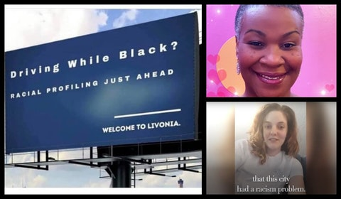 Left: A digital billboard gets a new display in Redford on Livonia's border. Top: Delisha Upshaw. Bottom: Amanda Chrysler Photos via Facebook