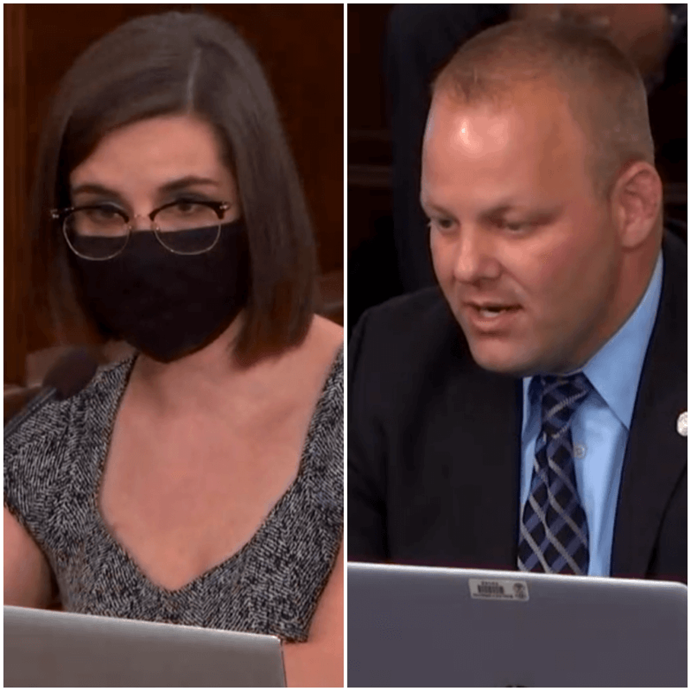 Reps. Laurie Pohutsky and Ryan Berman discussing the state of nursing homes during the pandemic. Photos via MI House TV.