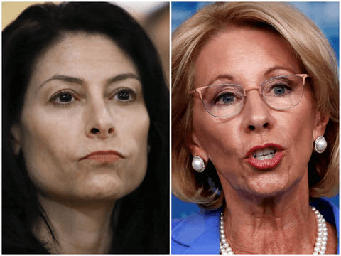 Attorney General Dana Nessel and Education Secretary Betsy DeVos will square off in court over Trump Administration policy about education funding. Photos by  AP.