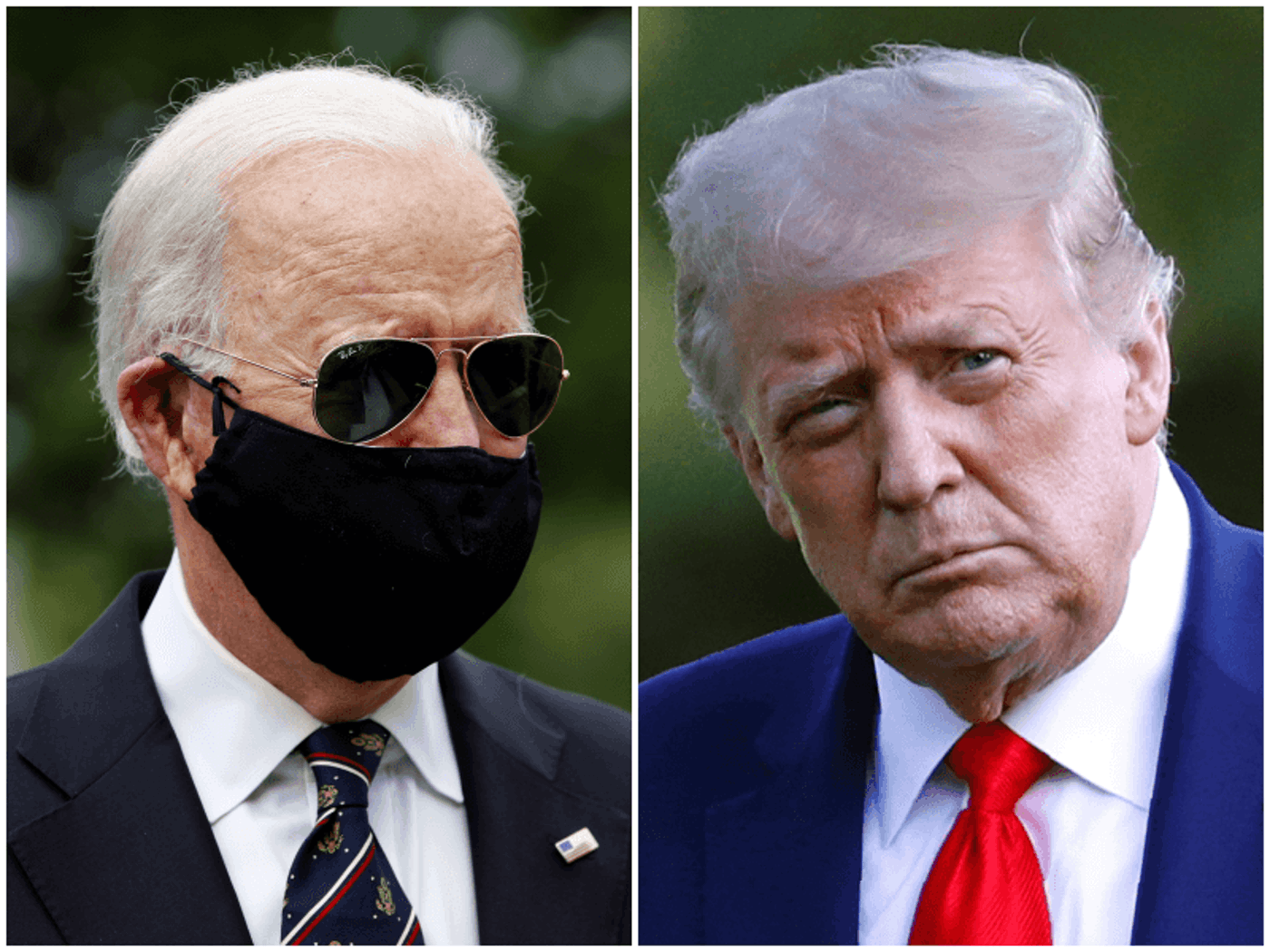 Biden has worn facial coverings during the coronavirus pandemic while Trump has resisted doing so. Photos courtesy the Associated Press.