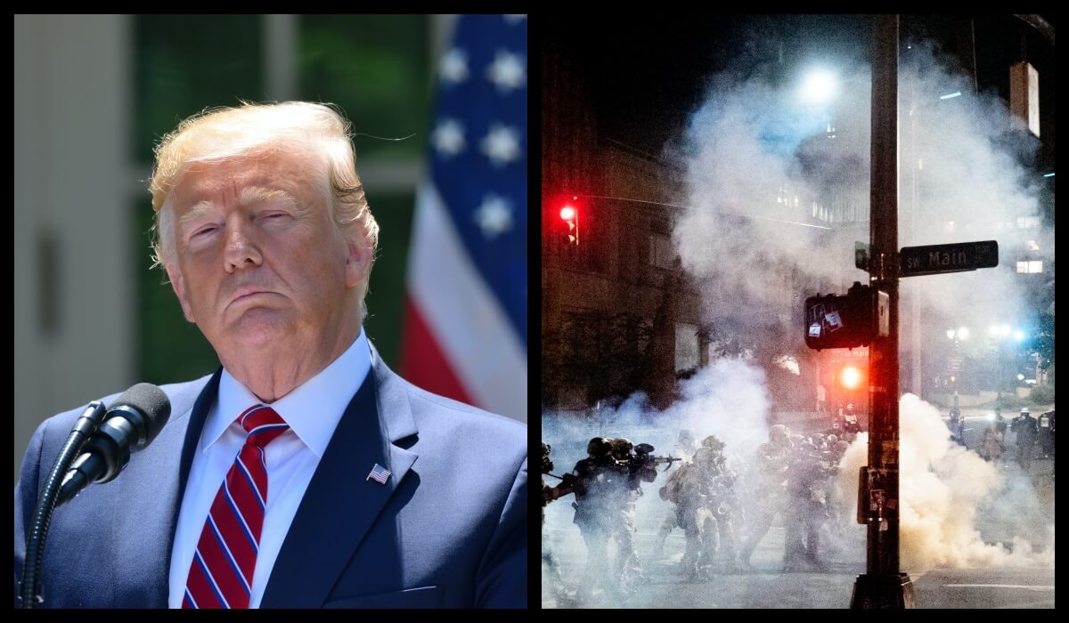 President Trump's response to what he calls elevated instances of gun violence across the country is resulting in more violent escalation. Photos via Shutterstock and AP.