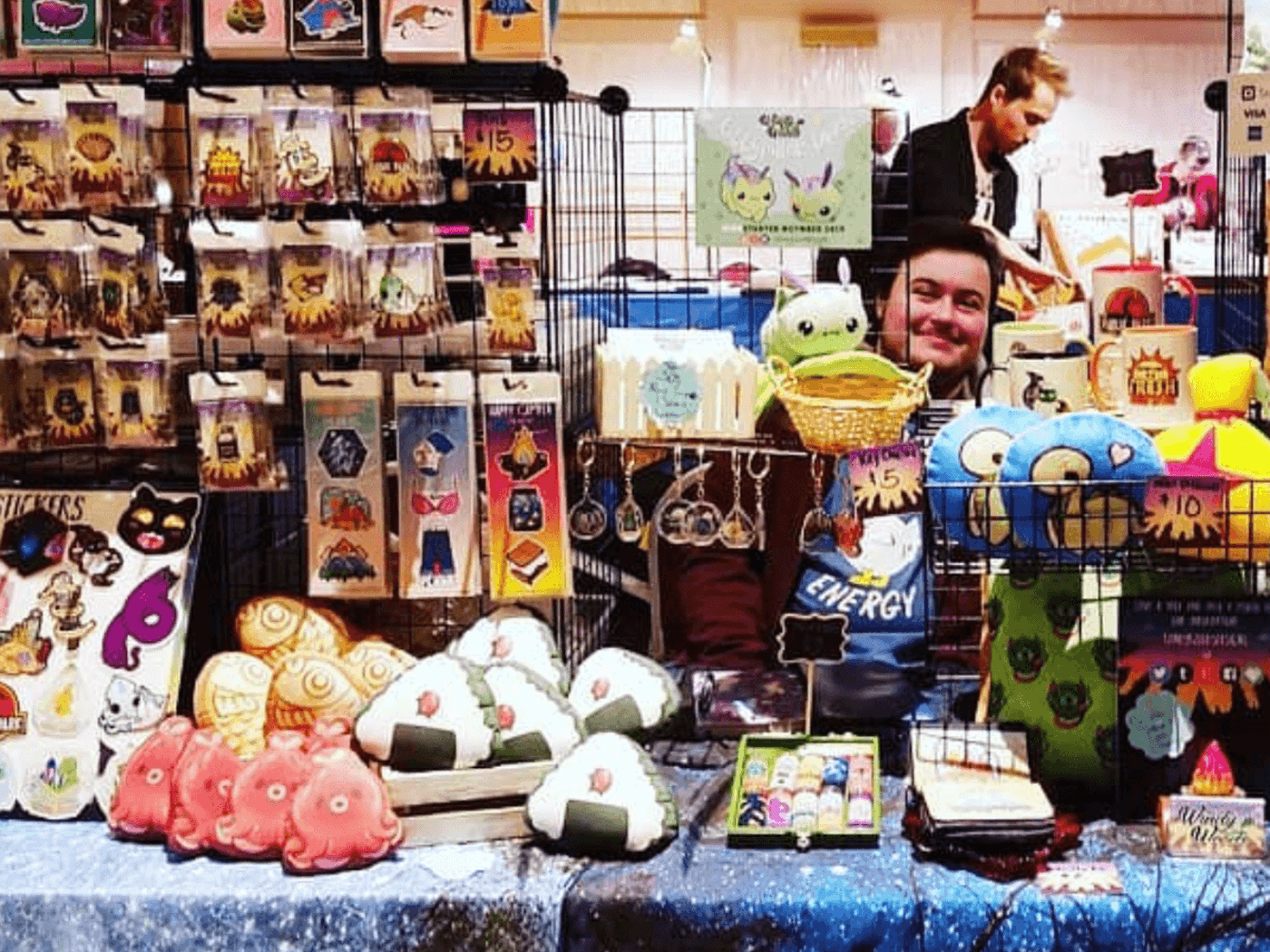Lewis Haney, selling his Windy Woods designs at a convention center. Photo courtesy Lewis Haney.
