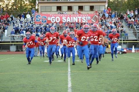 St. Clair High School's football team take the field. Photo courtesy St. Clair High School Athletics.