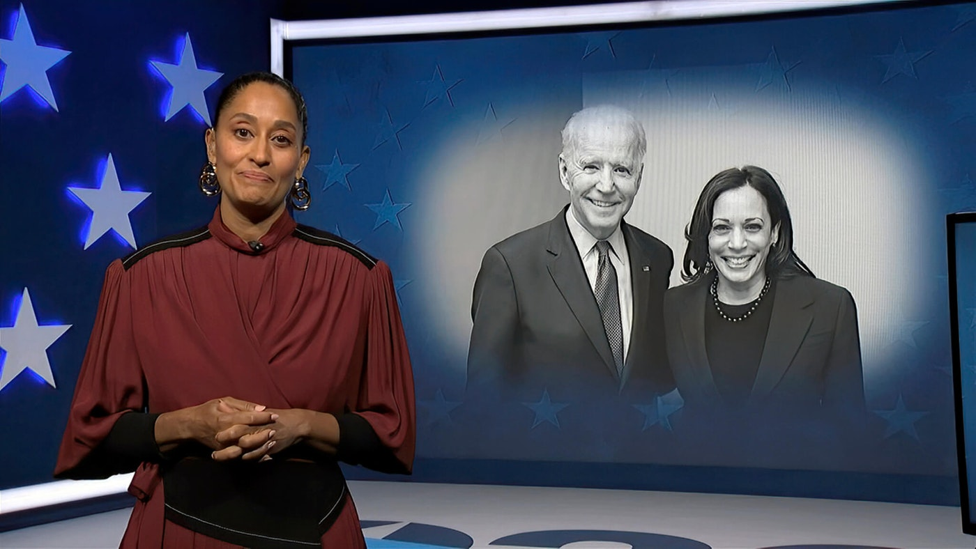 In this image from video, Tracee Ellis Ross, serving as moderator, speaks during the second night of the Democratic National Convention on Tuesday, Aug. 18, 2020. (Democratic National Convention via AP)