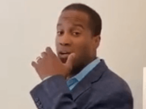 A screencapture from leaked footage of a small fundraiser for John James.