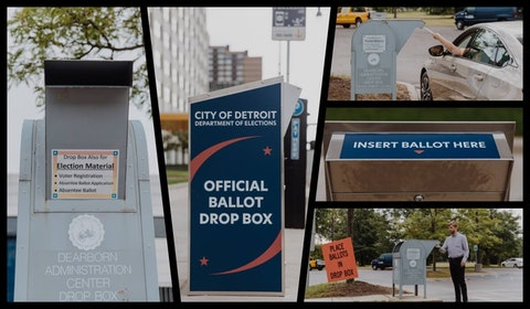 Michigan voters who choose to drop off their absentee ballots must use a box in their registered jurisdiction. Photos by Franz Knight.