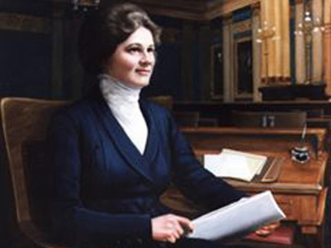Photo of a painting of Eva Hamilton. Courtesy the Archives of Michigan.