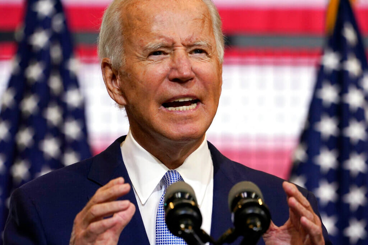 Democratic presidential candidate former Vice President Joe Biden speaks at a campaign event at Mill 19 in Pittsburgh, Pa., Monday, Aug. 31, 2020. (AP Photo/Carolyn Kaster)