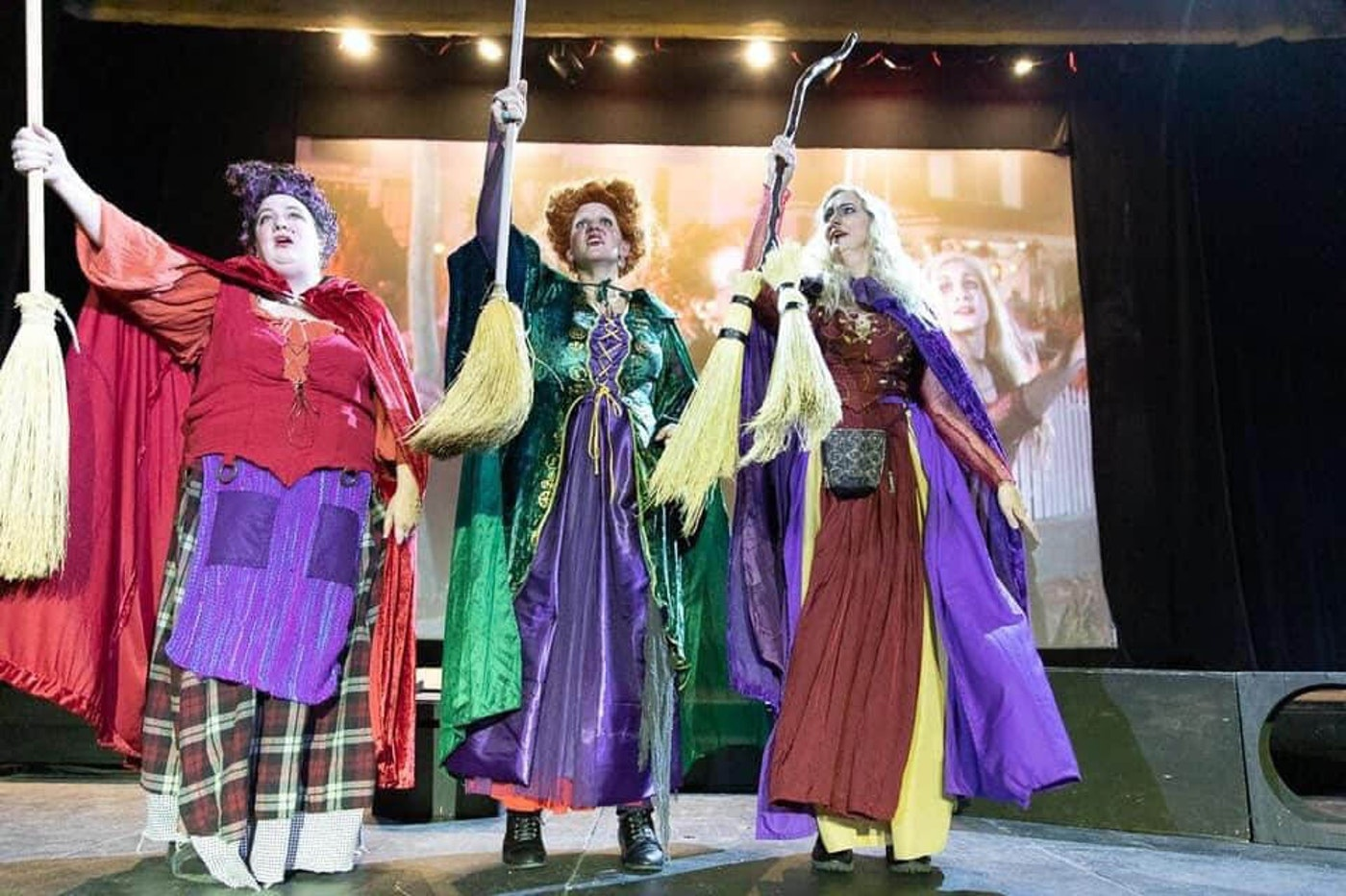 Tessa Betts (L), Kristina Lakey, and Ahlissa Vaubel as Mary, Winifred, and Sarah Sanderson respectively during a Hocus Pocus shadowcast. (Photo courtesy of Kristina Lakey)