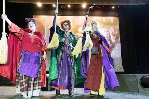 Tessa Betts (L), Kristina Lakey, and Ahlissa Vaubel as Mary, Winifred, and Sarah Sanderson respectively during a Hocus Pocus shadowcast. (Photo courtesy of Kristina Lakey)