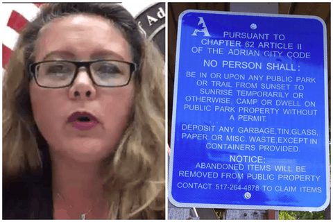 Mayor Heath of Adrian (left) apologized for posting signs banning things like eating or sleeping in parks (right) before the city commission even held a vote on the ordinance the sign referenced, banning activities targeting homeless people.