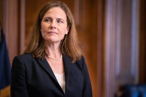 Supreme Court nominee Amy Coney Barrett meets with Sen. James Lankford, R-Okla., not pictured, Wednesday, Oct. 21, 2020, on Capitol Hill in Washington. (Sarah Silbiger/Pool via AP)