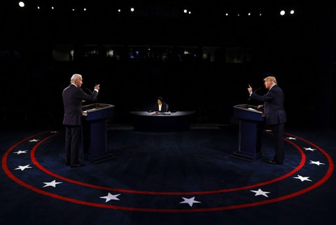 President Donald Trump and Democratic presidential candidate former Vice President Joe Biden participate in the final presidential debate at Belmont University, Thursday, Oct. 22, 2020, in Nashville, Tenn., as moderator Kristen Welker of NBC News listens. (Jim Bourg/Pool via AP)