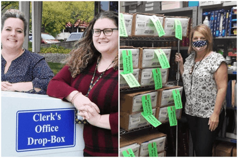 LEFT: Taylor Clerk Cindy Bower (left) poses with Deputy Clerk Sara El Rifaai at the absentee ballot drop-off box.  RIGHT: Madison Heights City Clerk Cheryl Rottman poses with absentee ballots.