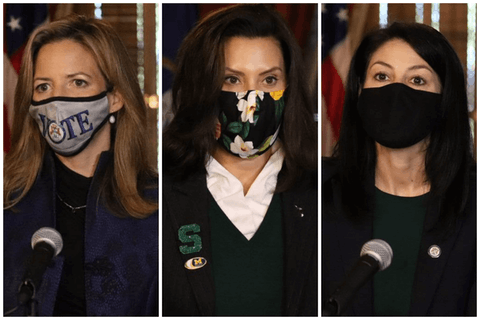 Benson, Whitmer and Nessel, masked, address Michiganders. Photos courtesy the Office of the Governor.