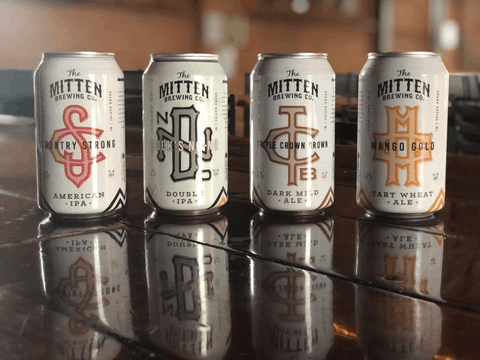 A line of Mitten brews. Photo courtesy The Mitten Brewing Co..