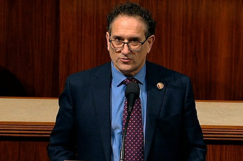 Rep. Andy Levin, D-Mich., speaks as the House of Representatives debates the articles of impeachment against President Donald Trump at the Capitol in Washington, Wednesday, Dec. 18, 2019. (House Television via AP)