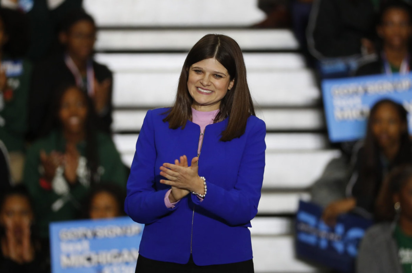 Haley Stevens, a Democratic congressional candidate appears during a rally in Detroit Friday, Oct. 26, 2018. (AP Photo/Paul Sancya)