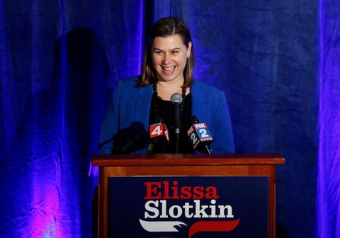 Elissa Slotkin, Democratic candidate for Michigan's 8th Congressional District, speaks at an election night watch party in Clarkston, Mich., Wednesday, Nov. 7, 2018. Slotkin is challenging Republican incumbent Mike Bishop. (AP Photo/Paul Sancya)