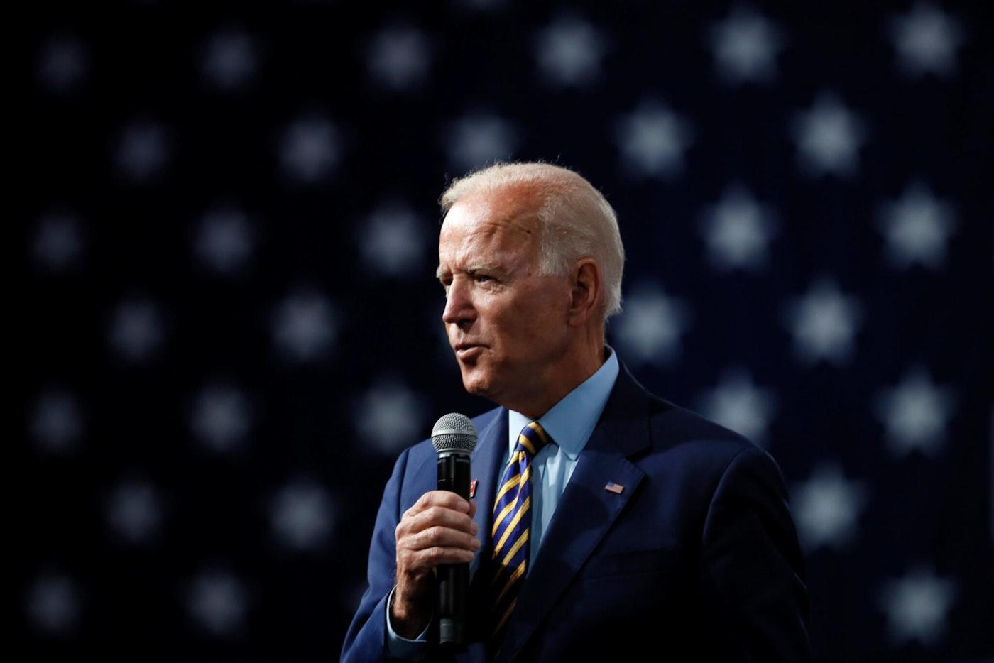 Democratic presidential candidate former Vice President Joe Biden speaks at the Presidential Gun Sense Forum, Saturday, Aug. 10, 2019, in Des Moines, Iowa. (AP Photo/Charlie Neibergall)