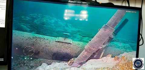 This June 2020 photo, shot from a television screen provided by the Michigan Department of Environment, Great Lakes, and Energy shows damage to anchor support EP-17-1 on the east leg of the Enbridge Line 5 pipeline within the Straits of Mackinac in Michigan. Enbridge who provided the photos to the state of Michigan, last week said an anchor support on the east leg of the pipeline, right, had shifted. A judge has shut down the pipeline in Michigan's Great Lakes, granting a request from the state. The judge says Enbridge hasn't provided enough information to show that continued operation of the west leg of the twin pipeline is safe. (Michigan Department of Environment, Great Lakes, and Energy via AP)