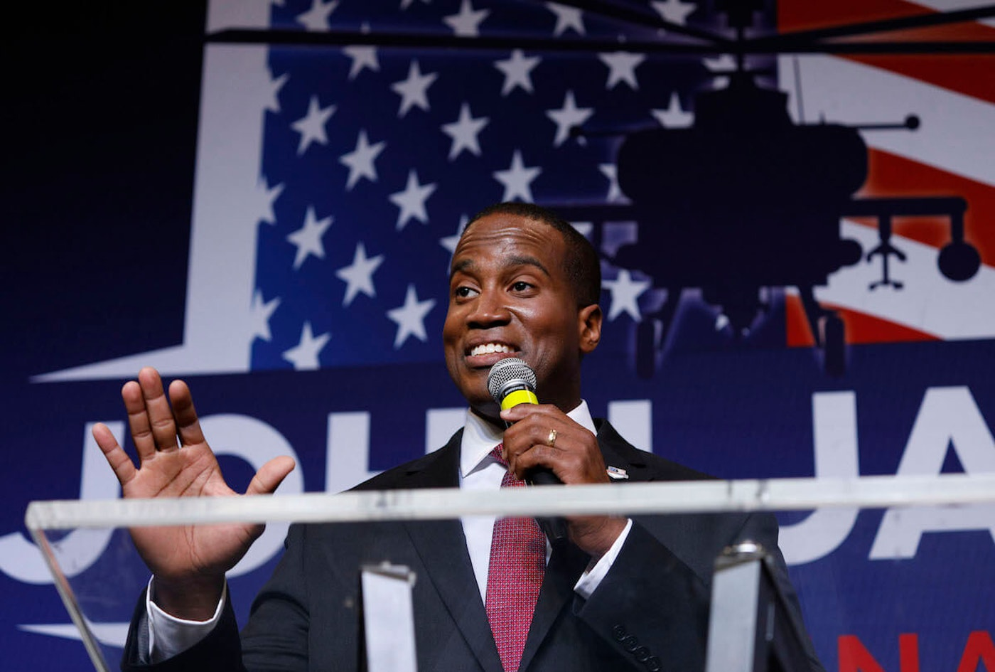 John James speaking at an election night event in August 2018. (Photo by Bill Pugliano/Getty Images)