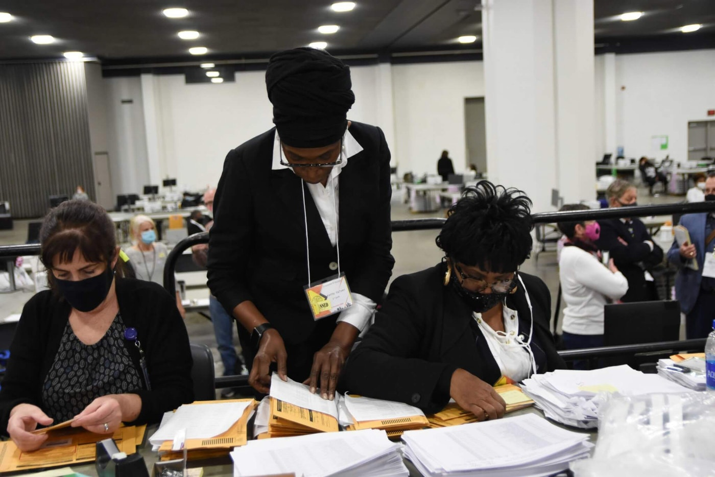Inside Detroit's counting location at the TCF Center. Photo by Montez Miller.