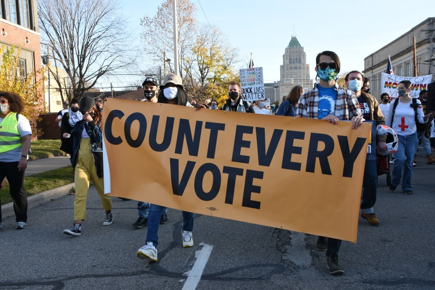 Demonstrators gathered near the Department of Election office as votes in the presidential election continued to be counted.