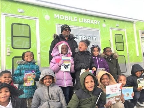 Detroit library students