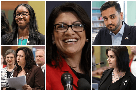 Michigan progressives won re-election this year. Kyra Harris Bolden (top-left), Abraham Aiyash (top-right), Angela Witwer (bottom-left), Laurie Pohutsky (bottom-right) and Rashida Tlaib (center). Photos from their respective offices and the Associated Press.