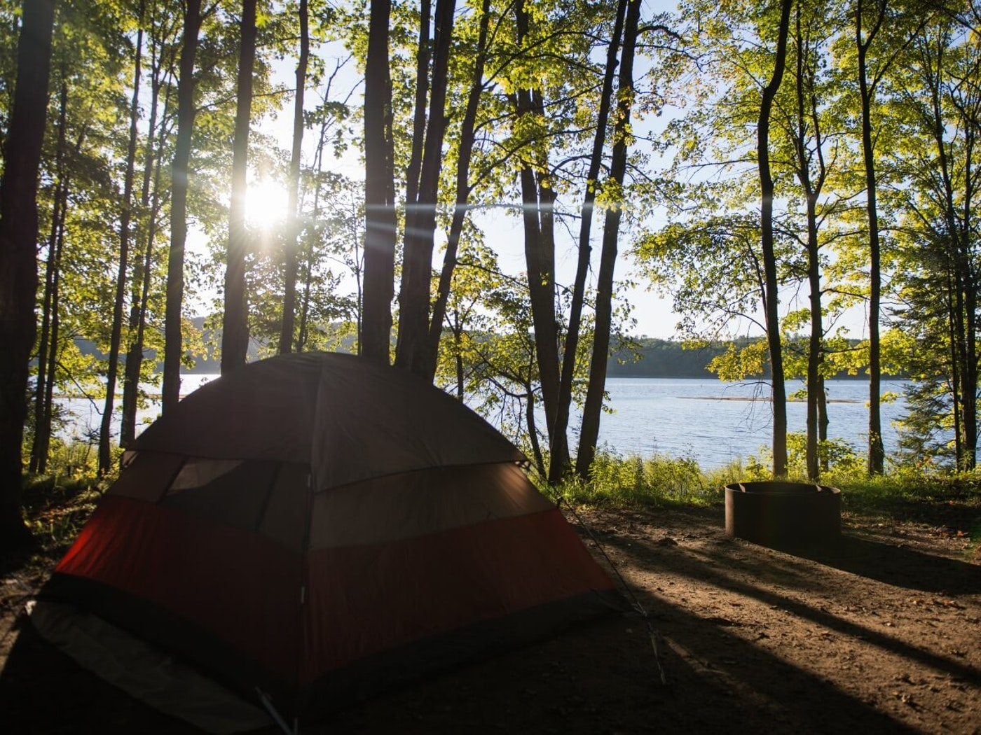 A tent by the water in northern Michigan.