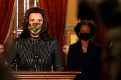 In this photo provided by the Michigan Office of the Governor, Gov. Gretchen Whitmer addresses the state during a speech in Lansing, Mich., Tuesday, Dec. 1, 2020. (Michigan Office of the Governor via AP)