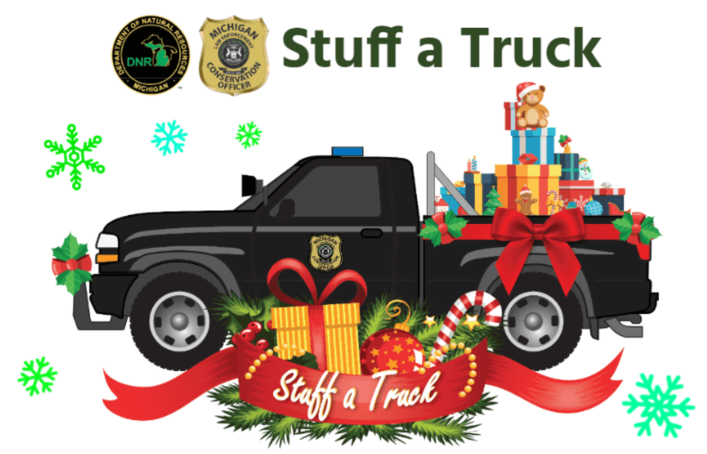 """The Michigan Department of Natural Resources is accepting donations to its annual """"Stuff a Truck"""" toy drive."""