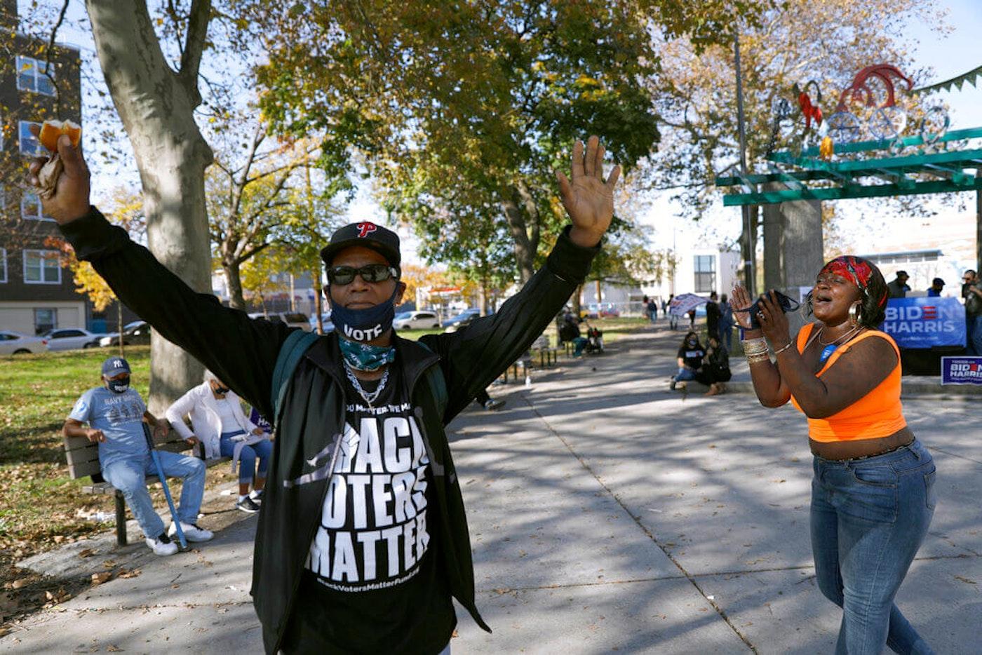 Black Americans celebrating Biden's win
