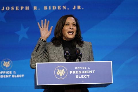 Vice President-elect Kamala Harris speaks during an event at The Queen theater, Saturday, Jan. 16, 2021, in Wilmington, Del. (AP Photo/Matt Slocum)