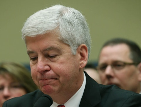 WASHINGTON, DC - MARCH 17:  Gov. Rick Snyder, (R-MI), listens to members comments during a House Oversight and Government Reform Committee hearing, about the Flint, Michigan water crisis, on Capitol Hill March 17, 2016 in Washington, DC. The committee is examining how lead ended up in the public drinking water in Flint, Michigan.