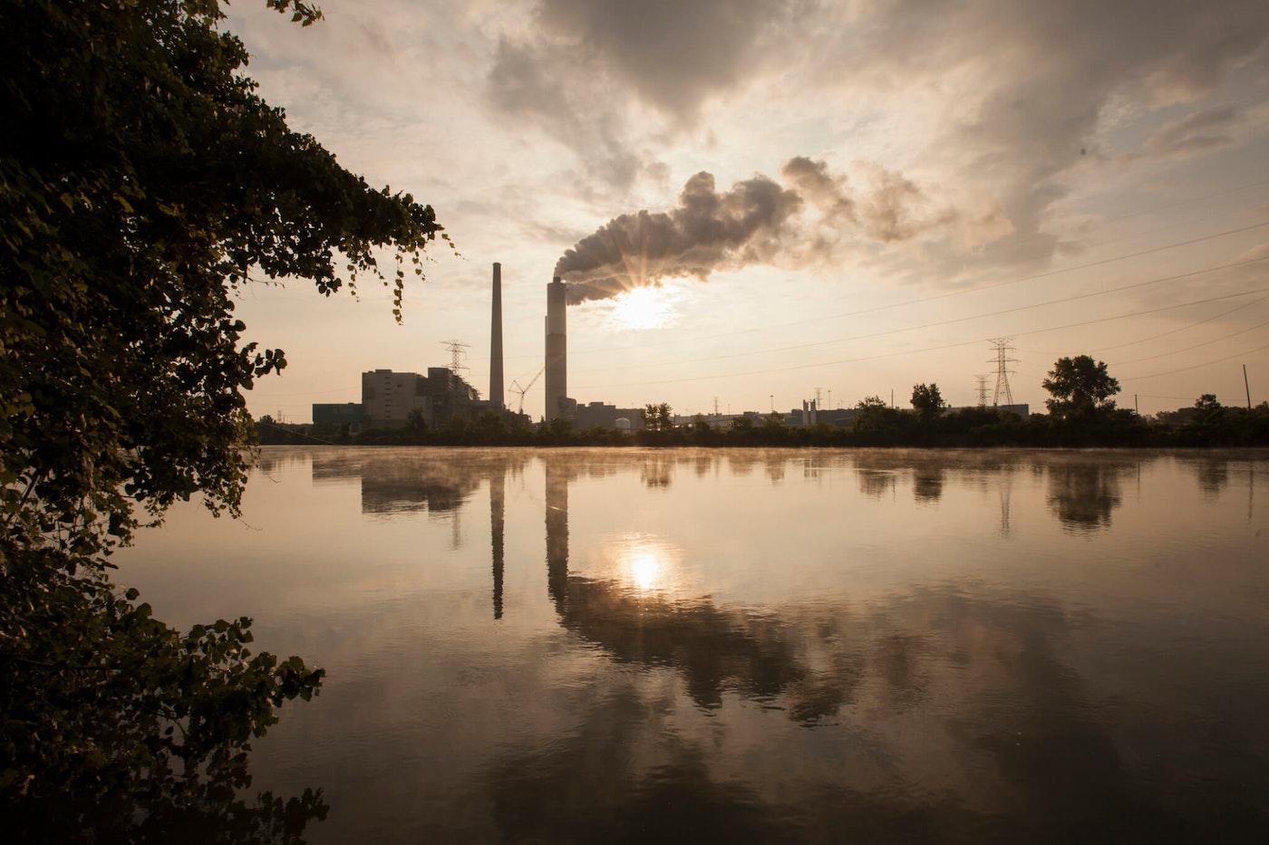 Detroit Edison Power Station and river Raisin at sunset, Monroe, Michigan, USA