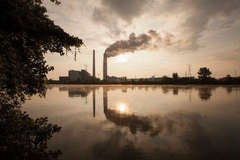 Detroit Edison Power Station and river Raisin at sunset, Monroe, Michigan, USA