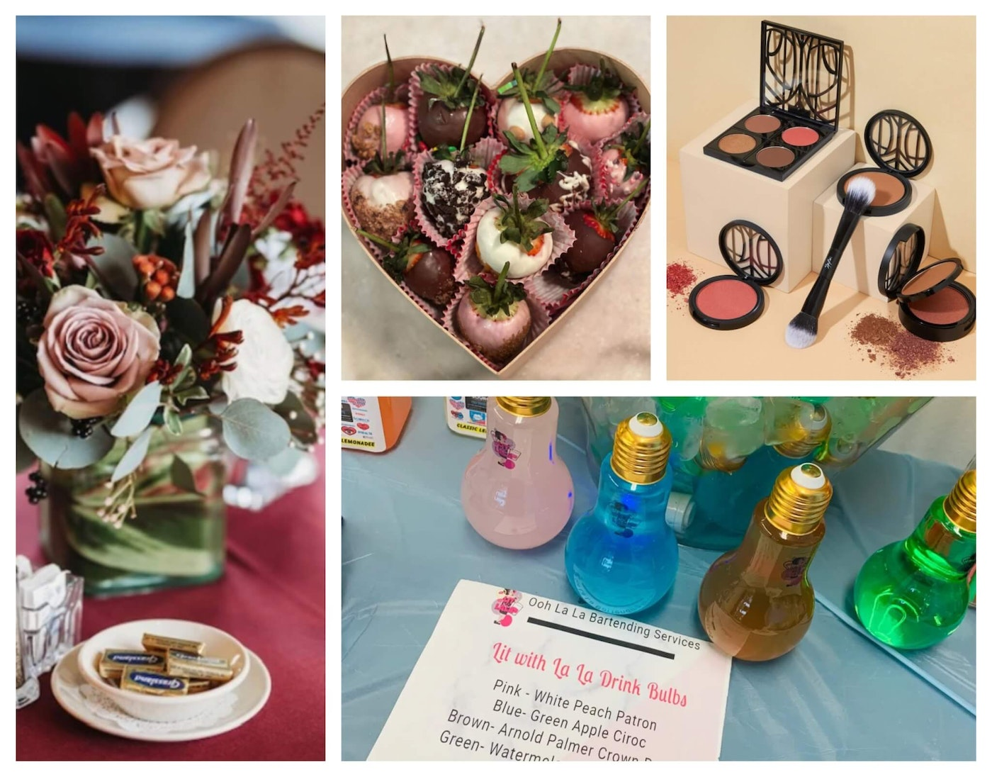 Photos courtesy of Angel Floral Creations, K.D. & Co., The Lip Bar, and La La's  Libations