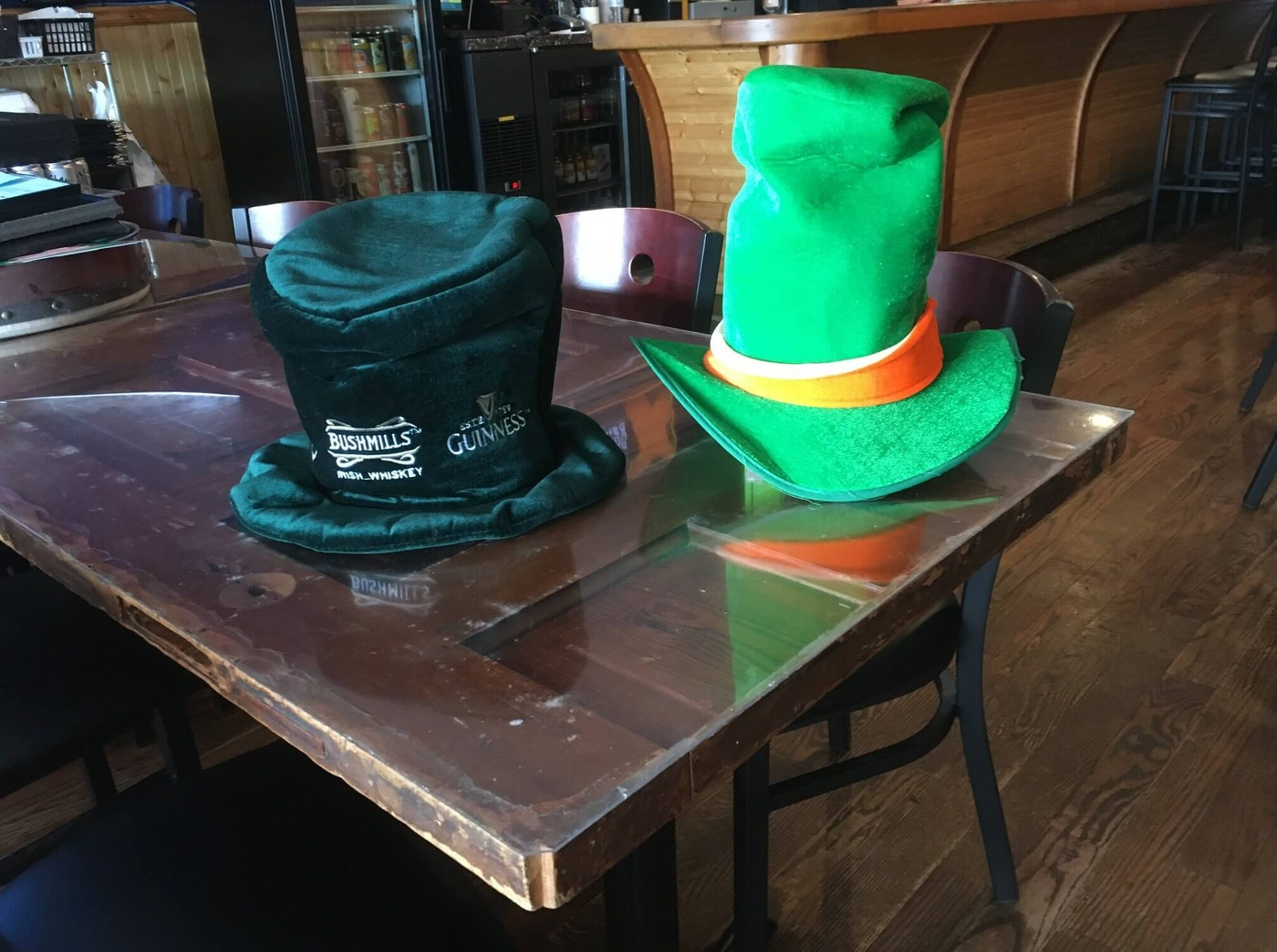 The iconic St. Patrick's hats that Blue Shamrock used to celebrate birthdays.