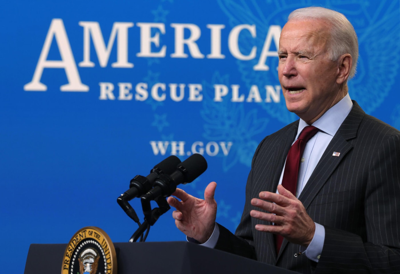 WASHINGTON, DC - FEBRUARY 22:  U.S. President Joe Biden speaks during an announcement related to small businesses at the South Court Auditorium of the Eisenhower Executive Office Building February 22, 2021 in Washington, DC. President Biden announced changes to the Paycheck Protection Program aimed at helping small and minority-owned business to qualify for federal loans due to the economic impact that has been caused by the COVID-19 pandemic. (Photo by Alex Wong/Getty Images)
