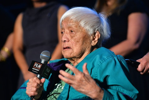 "LOS ANGELES, CA - JUNE 16:  Documentary subject Grace Lee Boggs speaks on stage at the ""American Revolutionary"" premiere during the 2013 Los Angeles Film Festival at American Airlines Theater on June 16, 2013 in Los Angeles, California.  (Photo by Amanda Edwards/WireImage)"