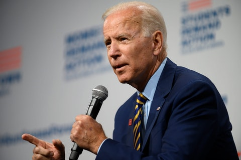 DES MOINES, IA - AUGUST 10: Democratic presidential candidate and former Vice President Joe Biden speaks on stage during a forum on gun safety at the Iowa Events Center on August 10, 2019 in Des Moines, Iowa. The event was hosted by Everytown for Gun Safety. (Photo by Stephen Maturen/Getty Images)