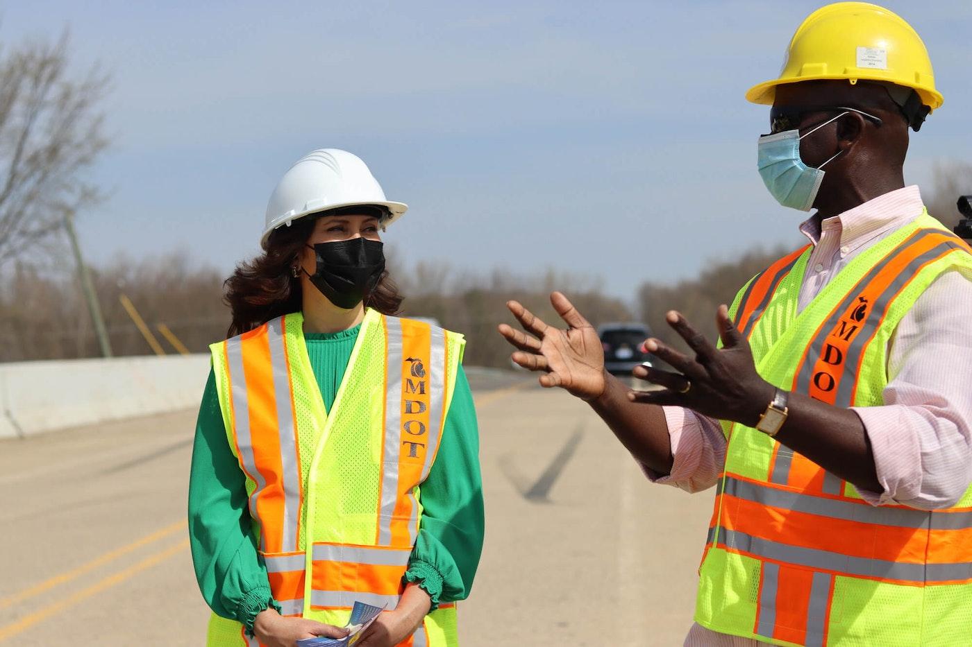Gov. Gretchen Whitmer visits Lowell Road Bridge in Clinton County.
