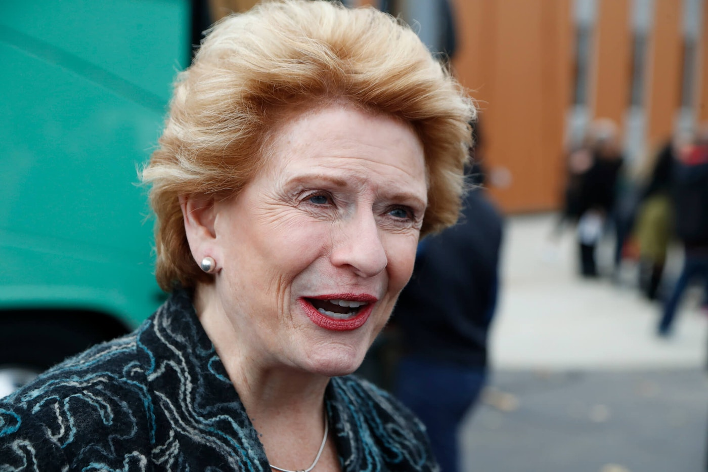 Sen. Debbie Stabenow, D-Mich., is interviewed during a campaign stop, Sunday, Nov. 4, 2018, in Detroit. (AP Photo/Carlos Osorio)