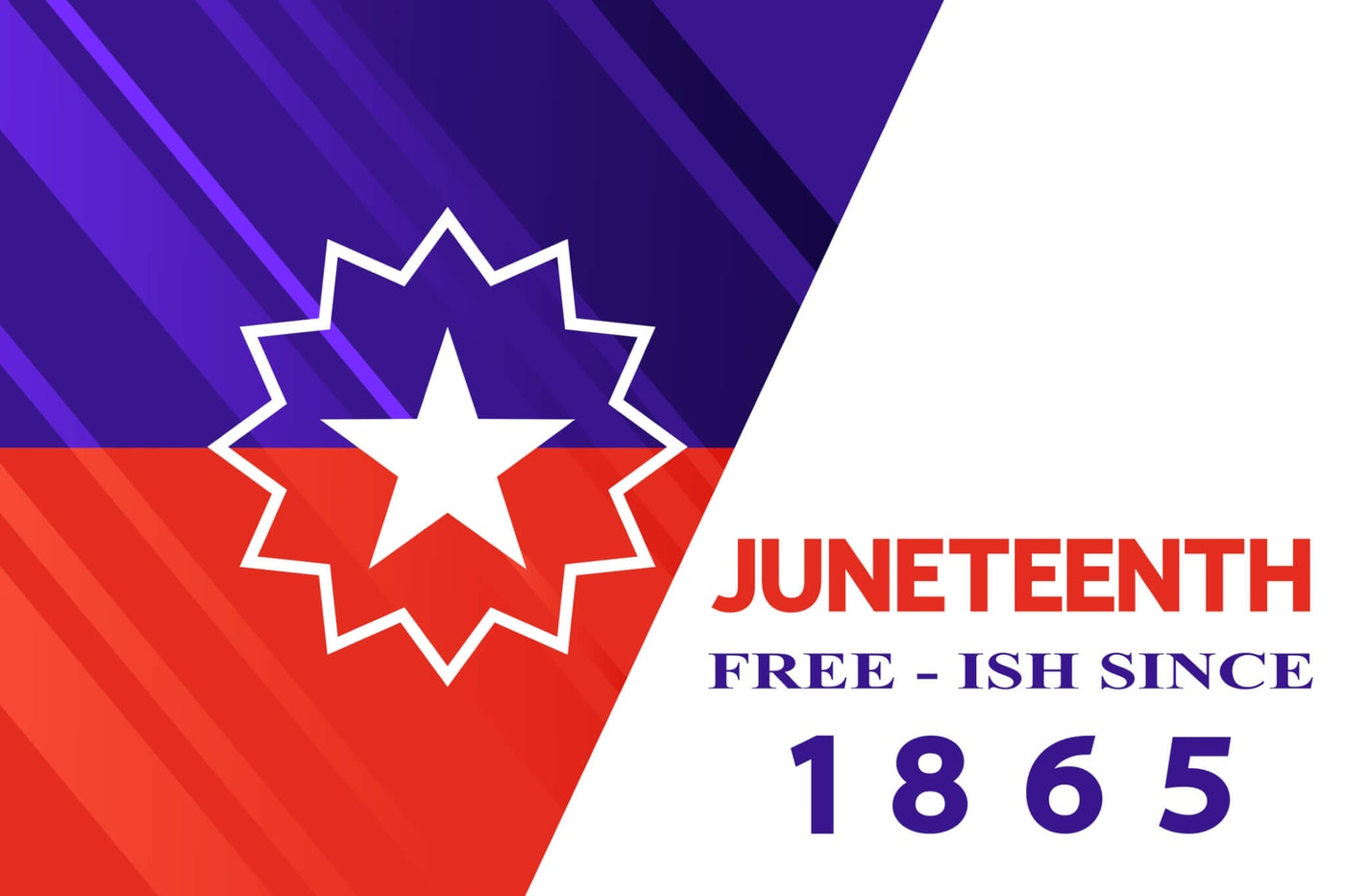 American holiday Black Freedom (Jubilee, Cel-Liberation) Day concept. Juneteenth flag on white.