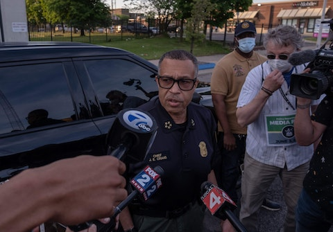 The then-Chief of Detroit Police James Craig speaks with the press about the protests taking place in Detroit, Michigan, June 3,2020 - The Chief of Detroit Police James Craig later ended the curfew after protesters called for an end to the curfew.