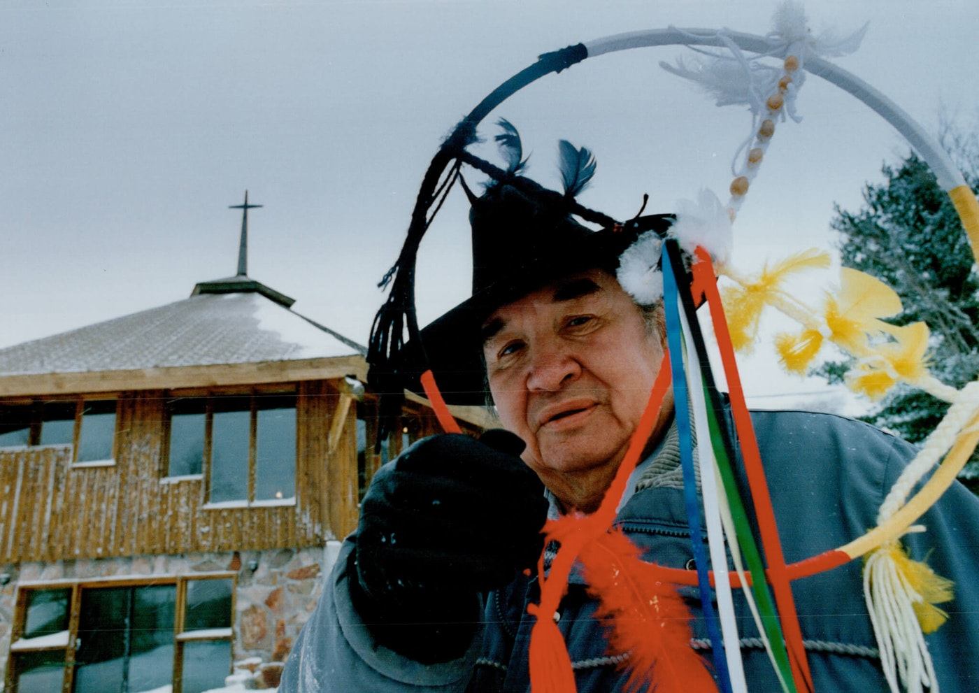 CANADA - DECEMBER 15:  Domenic Eshkakogan; 59; holds a native medicine wheel at Anishinabe Spiritual centre near Espanoia. He says the wheel is like creation or the creator; with no beginning and no end.   (Photo by Bernard Weil/Toronto Star via Getty Images)
